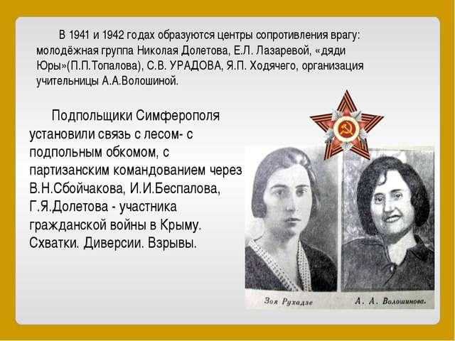 В 1941 и 1942 годах образуются центры сопротивления врагу: молодёжная группа...