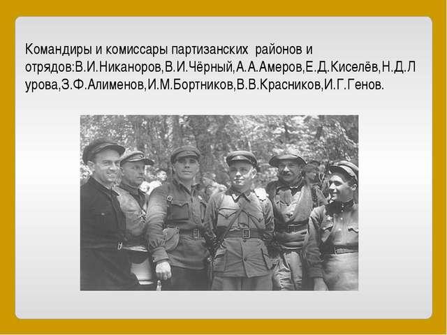 Командиры и комиссары партизанских районов и отрядов:В.И.Никаноров,В.И.Чёрный...