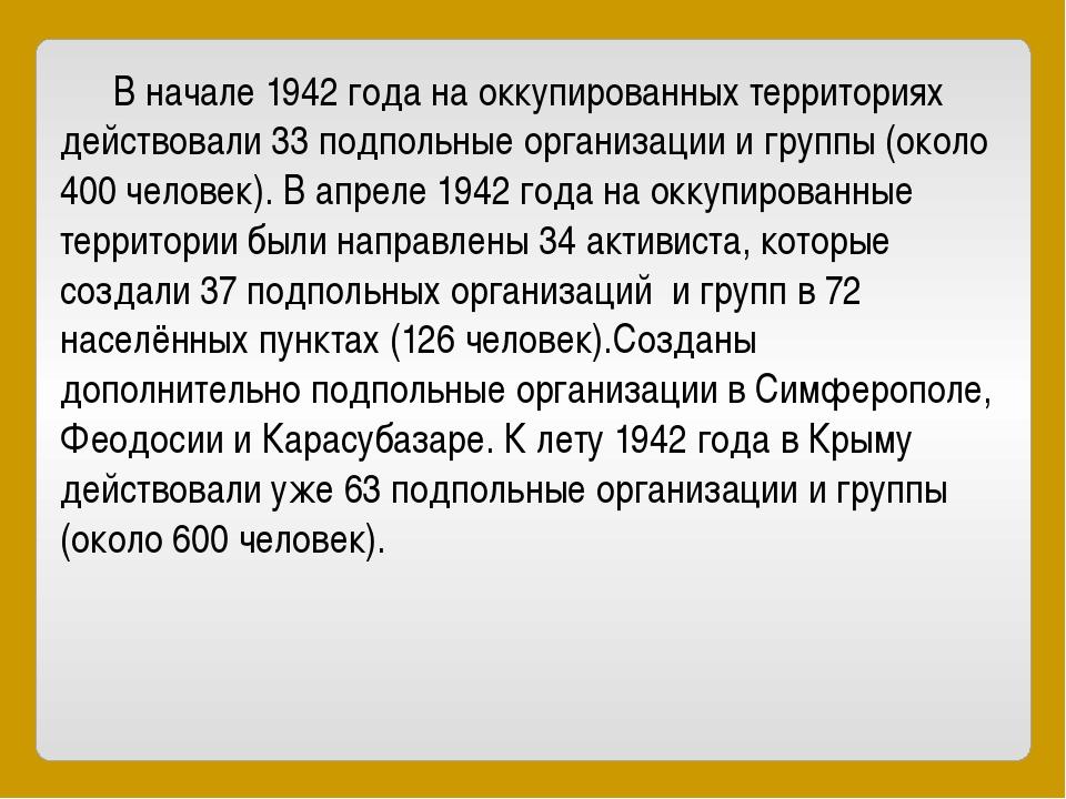 В начале 1942 года на оккупированных территориях действовали 33 подпольные о...