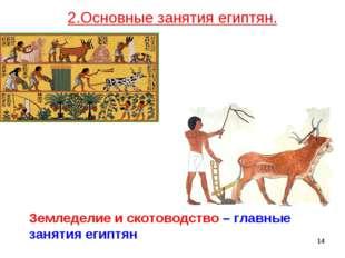 * Земледелие и скотоводство – главные занятия египтян 2.Основные занятия егип