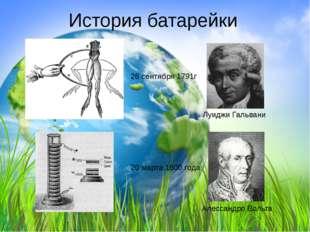 История батарейки Луиджи Гальвани 26 сентября 1791г Алессандро Вольта 20 март