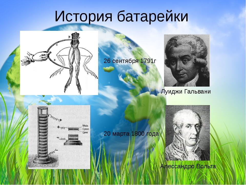 История батарейки Луиджи Гальвани 26 сентября 1791г Алессандро Вольта 20 март...