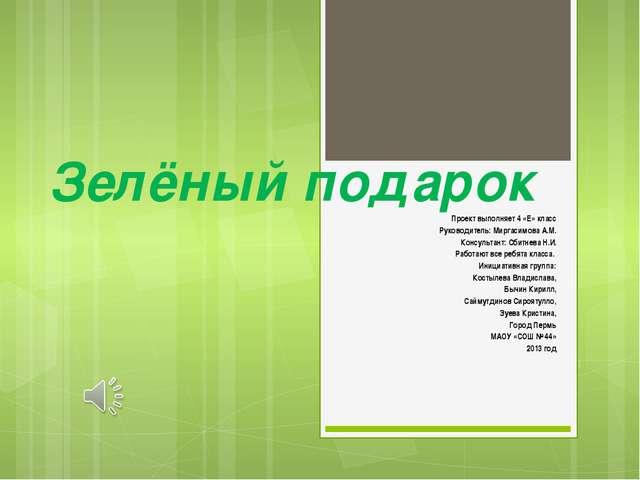 Зелёный подарок Проект выполняет 4 «Е» класс Руководитель: Миргасимова А.М. К...
