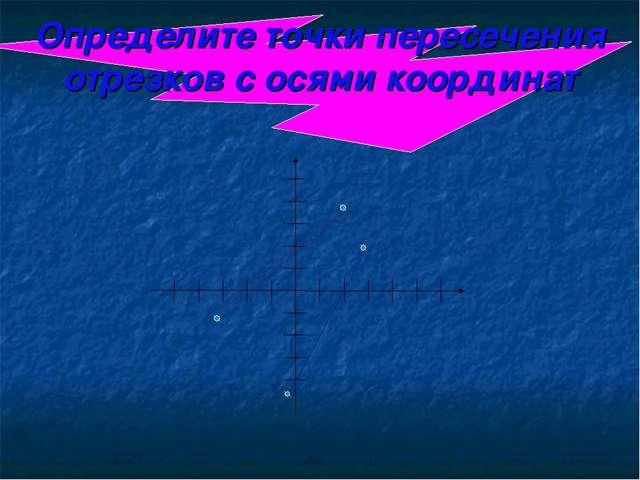 Определите точки пересечения отрезков с осями координат