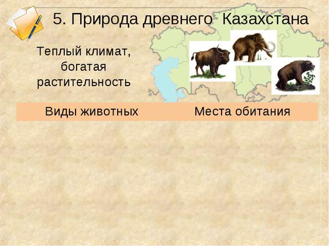 5. Природа древнего Казахстана Теплый климат, богатая растительность Виды жив...