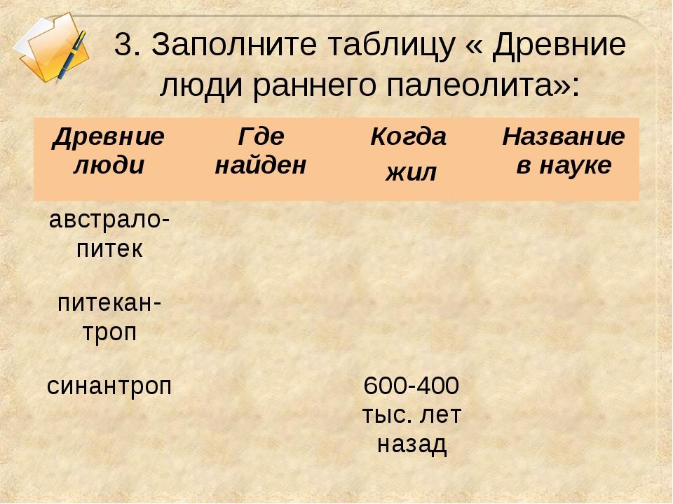 3. Заполните таблицу « Древние люди раннего палеолита»: Древние людиГде найд...