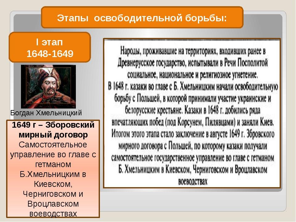 Этапы освободительной борьбы: I этап 1648-1649 Богдан Хмельницкий 1649 г – Зб...
