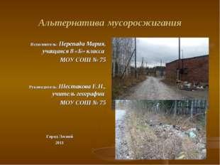 Альтернатива мусоросжигания Исполнитель: Перепада Мария, учащаяся 8 «Б» класс