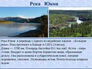 Река Юкон в переводе с одного из индейских языков «Большая река». Река протек
