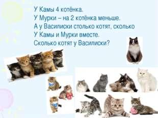 У Камы 4 котёнка. У Мурки – на 2 котёнка меньше. А у Василиски столько котят,