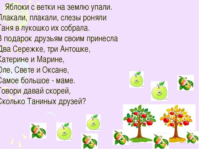 Яблоки с ветки на землю упали. Плакали, плакали, слезы роняли Таня в лукошко...