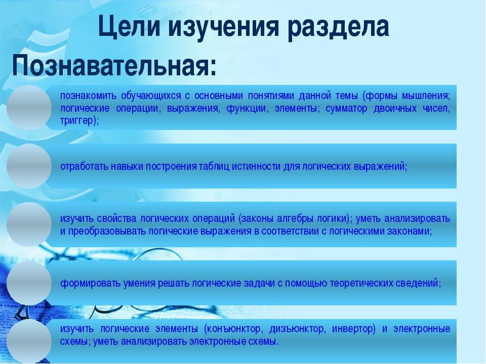Цели изучения раздела Познавательная: