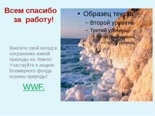 Всем спасибо за работу! Внесите свой вклад в сохранение живой природы на Земл
