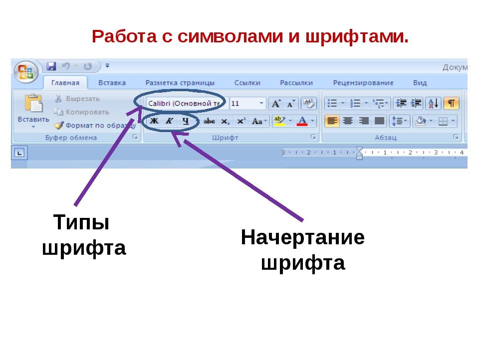 Работа с символами и шрифтами. Типы шрифта Начертание шрифта