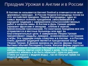 Праздник Урожая в Англии и в России В Англии он называется Harvest Festival и