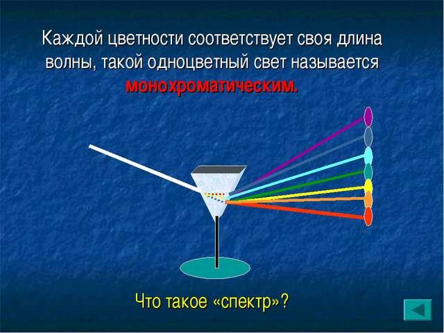 Каждой цветности соответствует своя длина волны, такой одноцветный свет назыв...