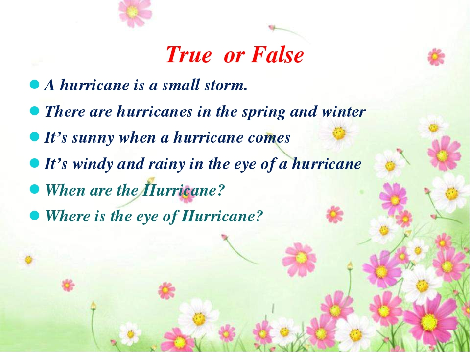 True or False A hurricane is a small storm. There are hurricanes in the spri...