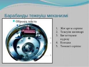 Барабанды тежеуіш механизмі Жоғарғы серіппе Тежеуіш цилиндрі Бағыттауыш құрса