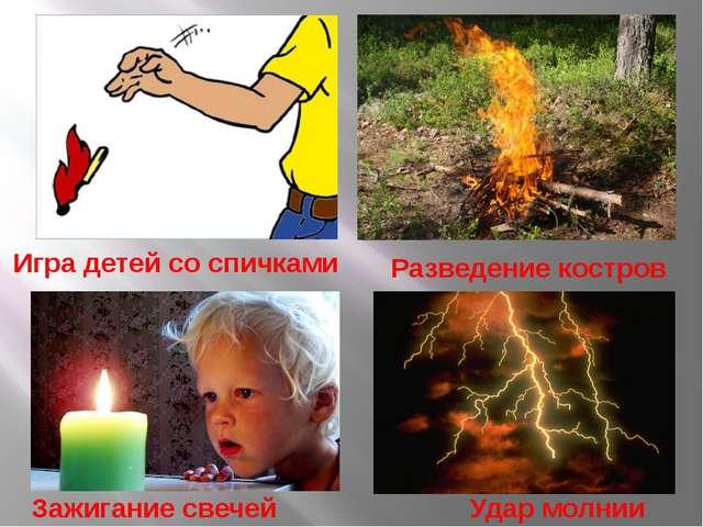 Игра детей со спичками Разведение костров Зажигание свечей Удар молнии