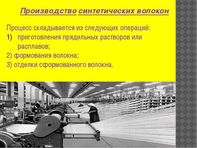 Производство синтетических волокон Процесс складывается из следующих операций...
