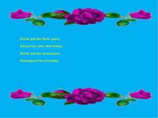 Білім деген биік шың, Бақытқа сені жеткізер, Білім деген ақылшың Қиындықтан
