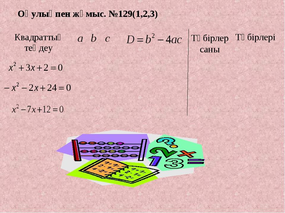 Оқулықпен жұмыс. №129(1,2,3) Түбірлер саны Квадраттық теңдеуabcТүбірлері...