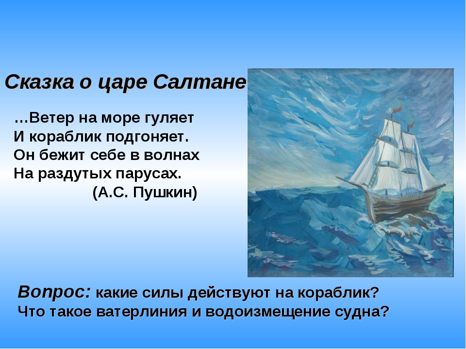 …Ветер на море гуляет И кораблик подгоняет. Он бежит себе в волнах На раздут...
