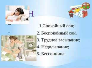Сон 1.Спокойный сон; 2. Беспокойный сон. 3. Трудное засыпание; 4. Недосыпание
