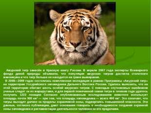 Амурский тигр занесён в Красную книгу России. В апреле 2007 года эксперты Вс