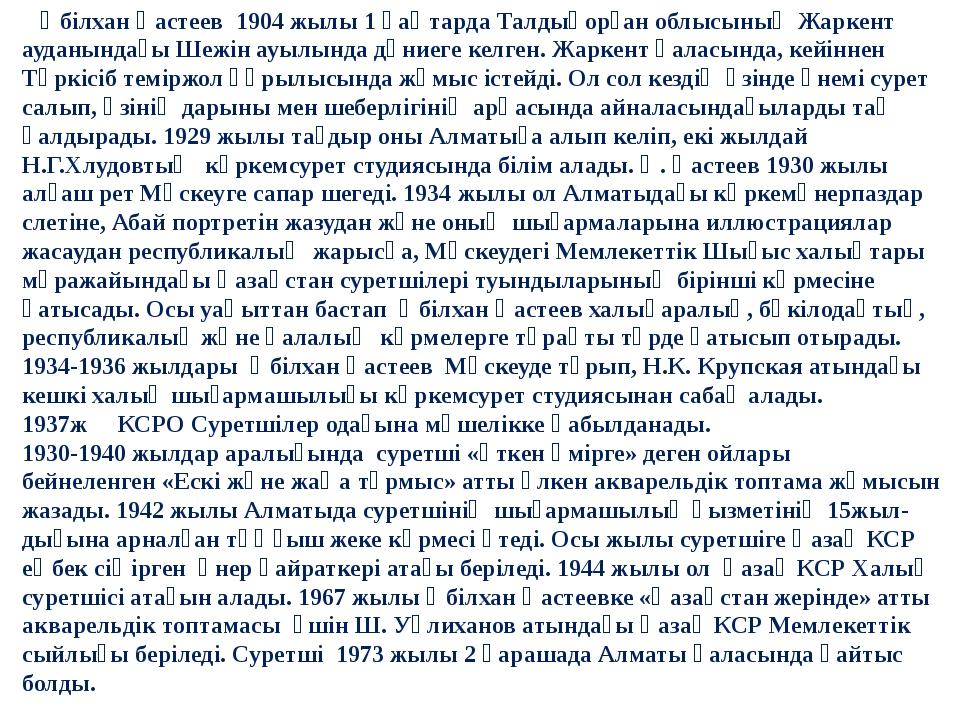 Әбілхан Қастеев 1904 жылы 1 қаңтарда Талдықорған облысының Жаркент ауданынд...