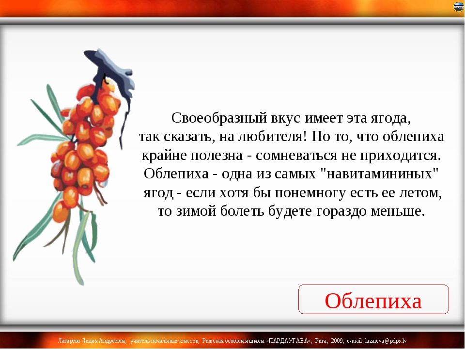 Облепиха Своеобразный вкус имеет эта ягода, так сказать, на любителя! Но то,...