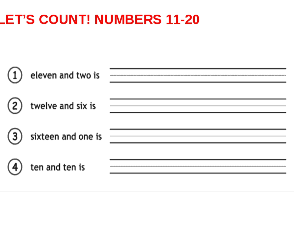 LET'S COUNT! NUMBERS 11-20