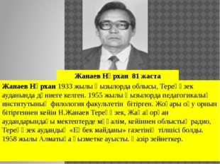 Жанаев Нұрхан1933 жылы Қызылорда облысы, Тереңөзек ауданында дүниеге келген.
