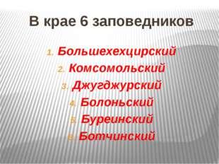 В крае 6 заповедников Большехехцирский Комсомольский Джугджурский Болоньский