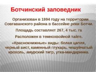 Ботчинский заповедник Организован в 1994 году на территории Совгаванского ра