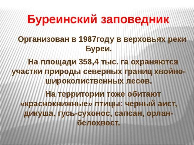 Буреинский заповедник Организован в 1987году в верховьях реки Буреи. На площ...