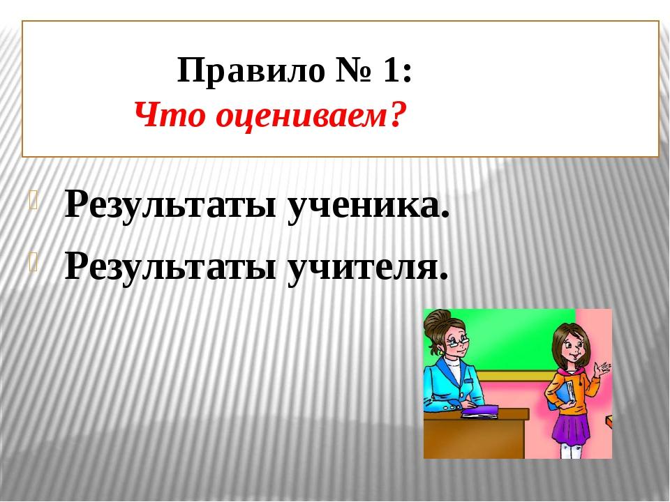 Правило № 1: Что оцениваем? Результаты ученика. Результаты учителя.