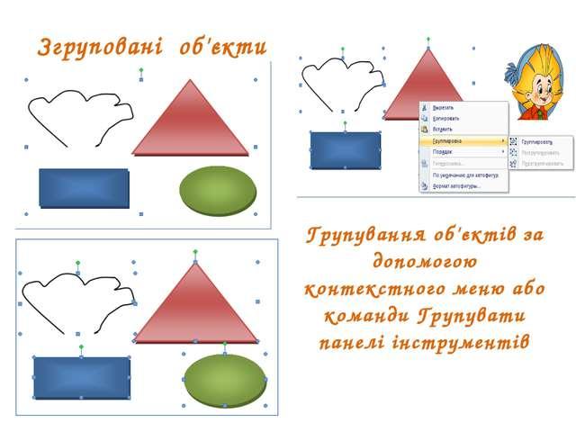 Згруповані об'єкти Групування об'єктів за допомогою контекстного меню або ком...
