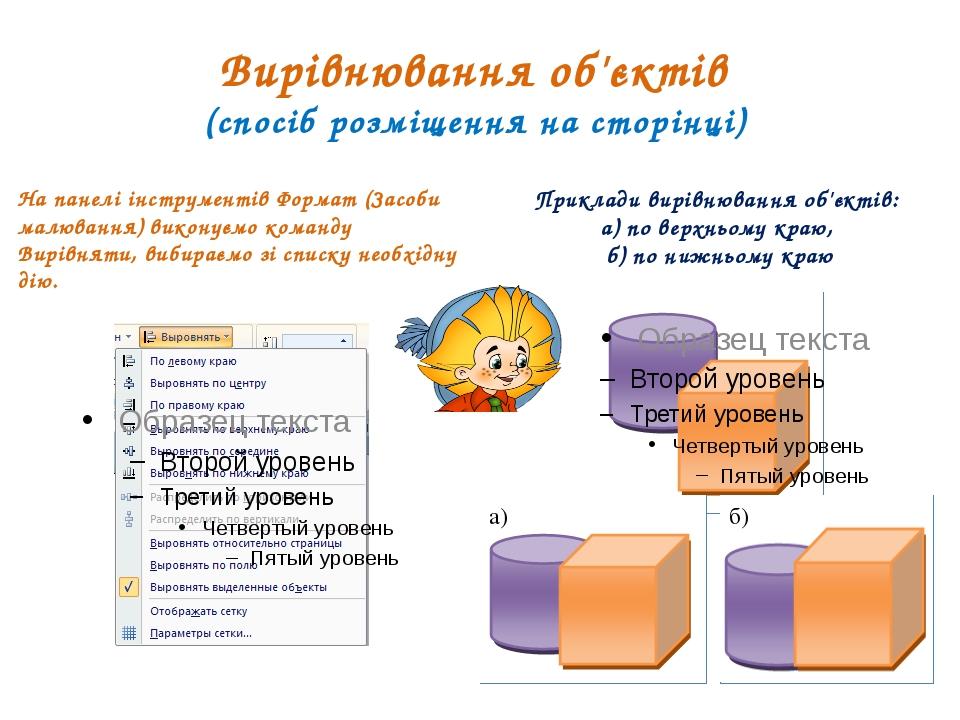 Вирівнювання об'єктів (спосіб розміщення на сторінці) На панелі інструментів...