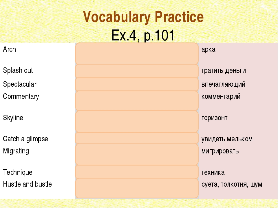 Vocabulary Practice Ex.4, p.101 Arch	An upwardly curved construction	арка Spl...