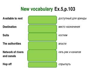 New vocabulary Ex.5,p.103 Available to rentthere to borrowдоступный для ар