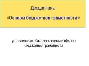 Дисциплина «Основы бюджетной грамотности » устанавливает базовые знания в об