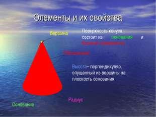Элементы и их свойства Основание Вершина Образующие Высота– перпендикуляр, оп