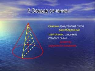 2.Осевое сечение Сечение представляет собой равнобедренный треугольник, основ