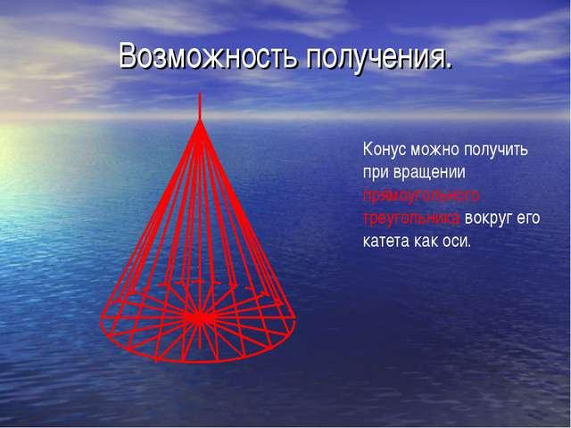 Возможность получения. Конус можно получить при вращении прямоугольного треуг...