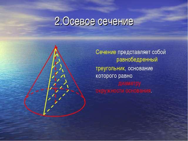 2.Осевое сечение Сечение представляет собой равнобедренный треугольник, основ...