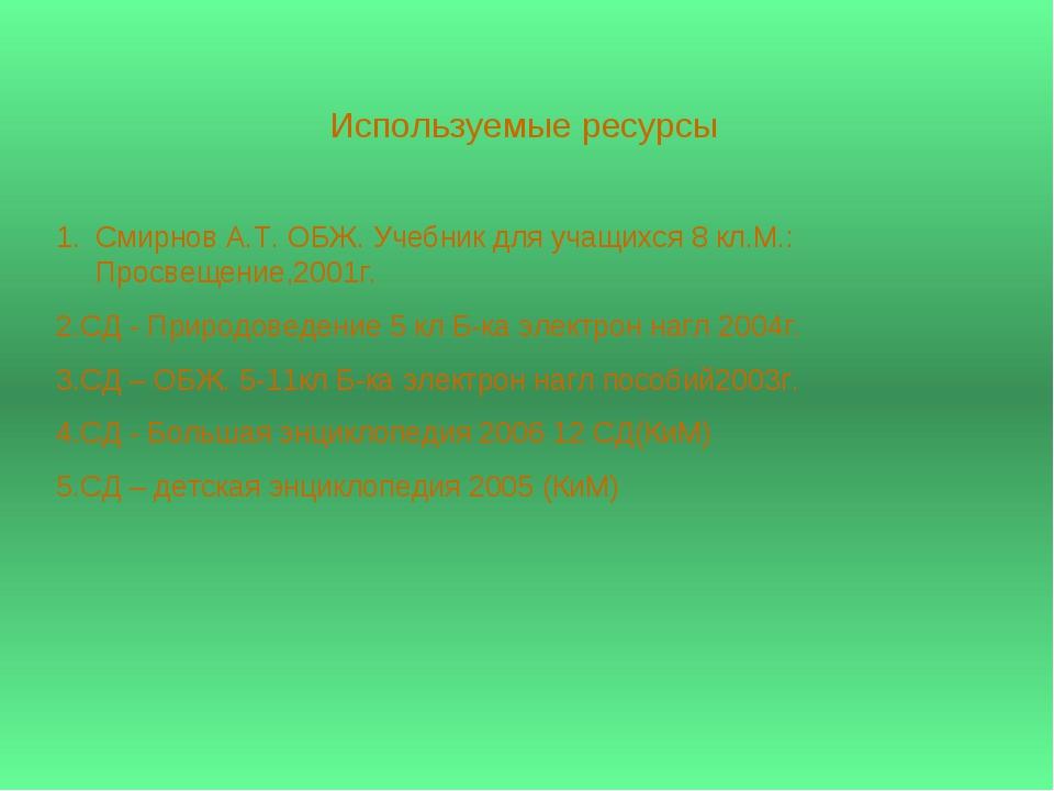 Используемые ресурсы Смирнов А.Т. ОБЖ. Учебник для учащихся 8 кл.М.: Просвеще...