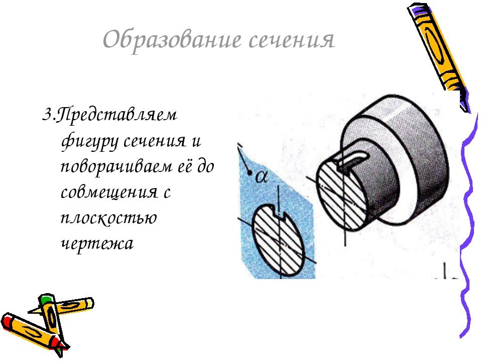 Образование сечения 3.Представляем фигуру сечения и поворачиваем её до совмещ...