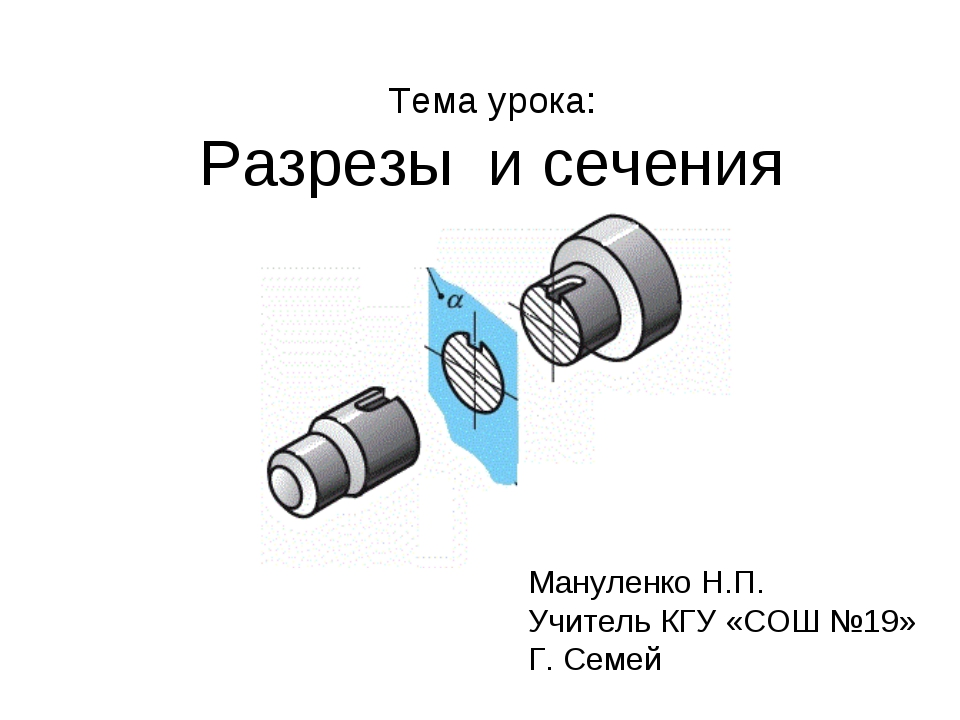 Тема урока: Разрезы и сечения Мануленко Н.П. Учитель КГУ «СОШ №19» Г. Семей
