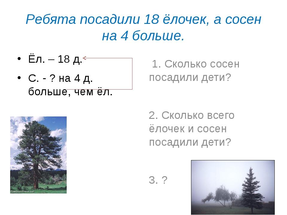 Ребята посадили 18 ёлочек, а сосен на 4 больше. Ёл. – 18 д. С. - ? на 4 д. бо...